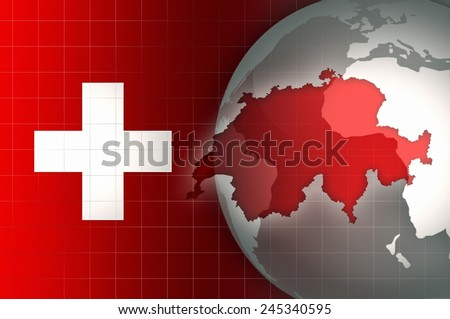 Switzerland Map and Flag on a world globe news background - stock photo