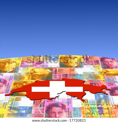 Switzerland map flag on Swiss francs globe illustration - stock photo