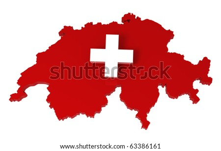 Switzerland, map with flag, clipping path included, 3d illustration, isolated
