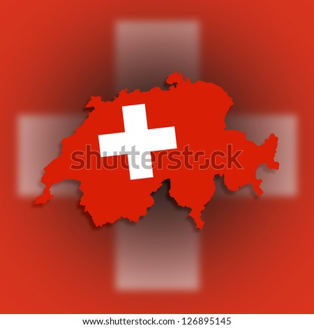 Switzerland map with the flag inside, isolated