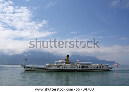 Switzerland, Montreux, view of Lake Geneva and the Alps in cloudy weather