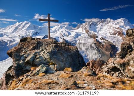 Switzerland mountains with glaciers.  - stock photo