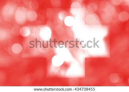 SWITZERLAND : National flag. Soft blurred bokeh natural background. Abstract gradient desktop wallpaper.  - stock photo