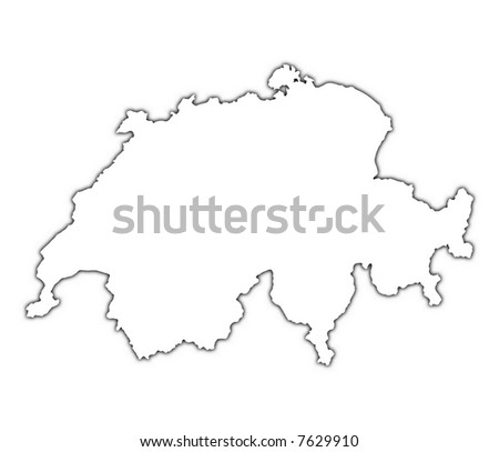 switzerland outline map with shadow detailed mercator projection
