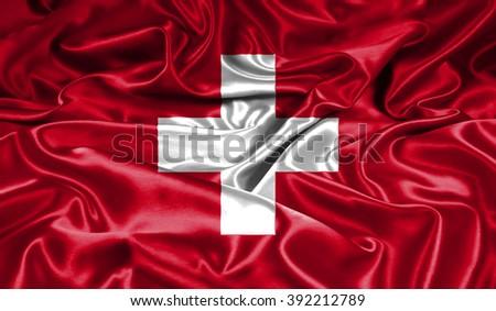 Switzerland  silk flag - stock photo