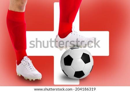 Switzerland soccer player with football for competition in Match game.
