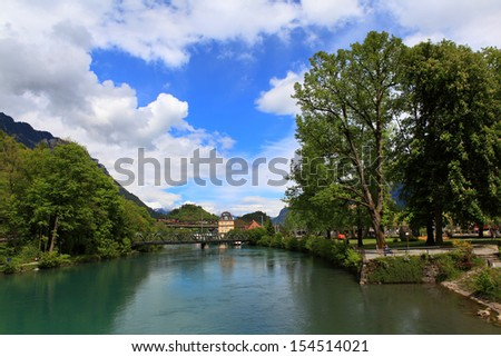 Switzerland. View of the River Aare in Interlaken