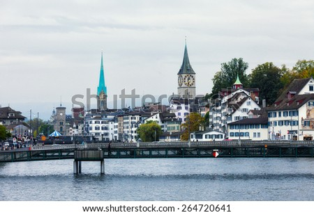 SWITZERLAND, ZURICH - OCTOBER 1, 2013: Historical part of the city. Zurich-largest city of the country, capital of the German-speaking Canton of Zurich - stock photo