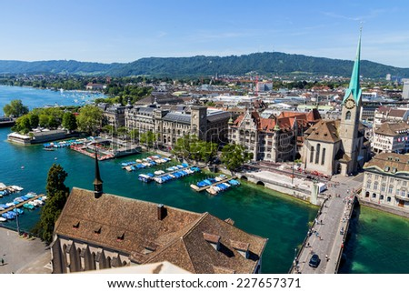 switzerland, zurich, view of the city - stock photo