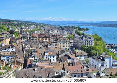 Switzerland, Zurich. View of the city and the Zurich Lake in a sunny summer day - stock photo