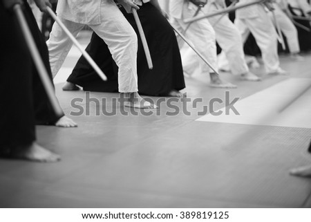 Sword stance - stock photo