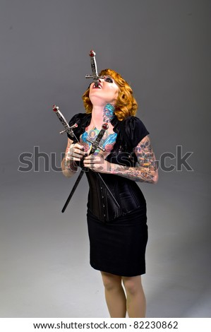 Sword Swallower - stock photo