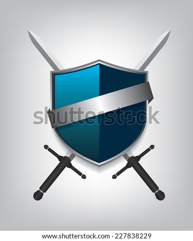 Swords and shield - stock photo