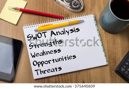 SWOT Analysis - Note Pad With Text On Wooden Table - with office  tools - stock photo