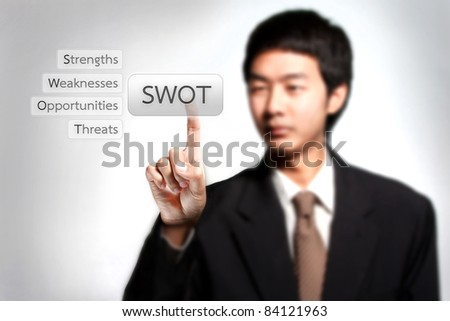 SWOT analysis, strength, weakness, opportunity, and threat. Business man pressing on swot button - stock photo