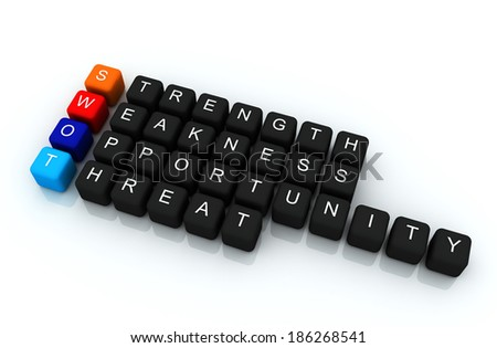 SWOT colorful box Crossword 3D render - stock photo