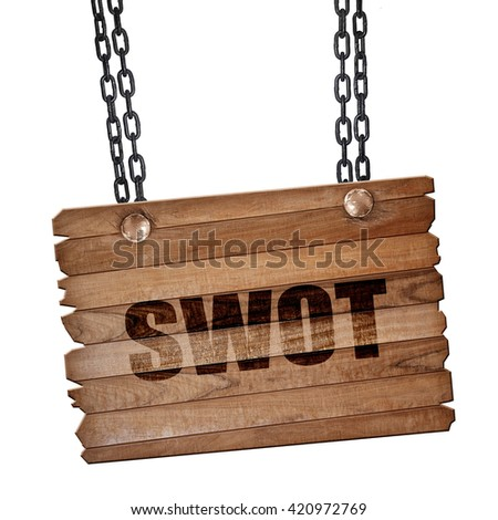 swot, 3D rendering, wooden board on a grunge chain