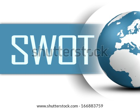 SWOT for strengths, weaknesses, opportunities and threats concept with globe on white background - stock photo