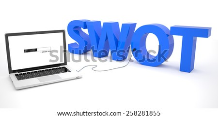 SWOT for strengths, weaknesses, opportunities and threats - laptop computer connected to a word on white background. 3d render illustration. - stock photo