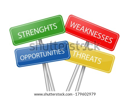 SWOT four colorful post signs - stock photo