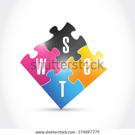 swot puzzle illustration design over a white background - stock photo