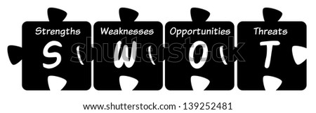 SWOT puzzle sign isolated on white background. - stock photo