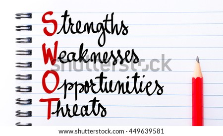 SWOT Strengths, Weaknesses, Opportunities, Threats written on notebook page with red pencil on the right - stock photo