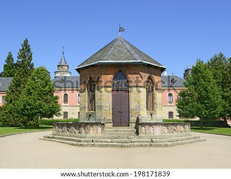 Sychrov chateau - the fountain in the courtyard. Czech republic.