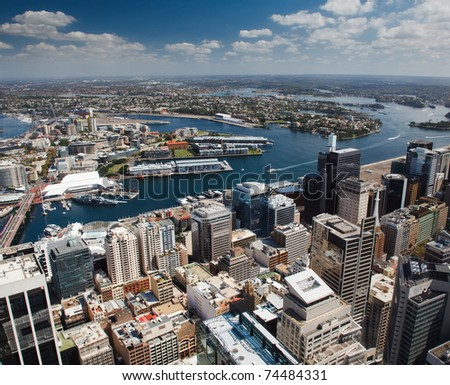 sydney aerial veiw from Sydney Tower west Darling harbour water yachts buildings skyscrapers sky color - stock photo