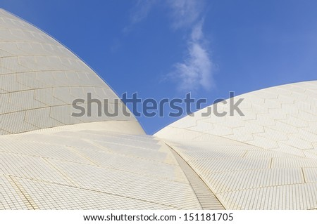 SYDNEY - APRIL 7:  An abstract view of the unique roof of Sydney's famous Opera House on April 7, 2013.  Building is a UNESCO World Heritage site. - stock photo