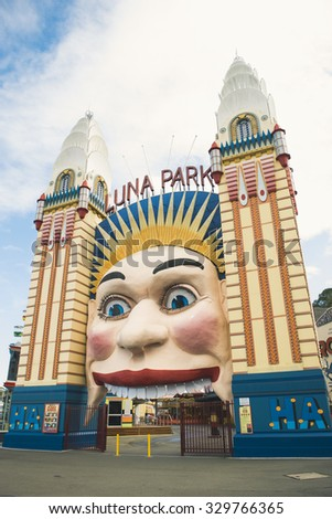 SYDNEY - APRIL 9: Luna Park view on April 9, 2015 in Sydney, Australia. It is an amusement park located at Milsons Point in Sydney, Australia.
