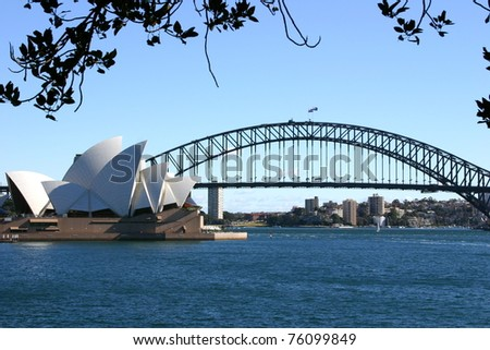 SYDNEY - APRIL 19: The Sydney Opera House provides a venue for the performing arts on April 19, 2006 in Australia's largest city, Sydney. - stock photo