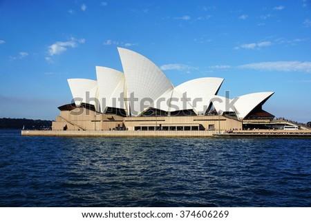 SYDNEY - AUG 22: Sydney Opera House view on August 22, 2015. in Sydney, Australia. The Sydney Opera House is a famous arts center. It was designed by Danish architect Jorn Utzon. - stock photo