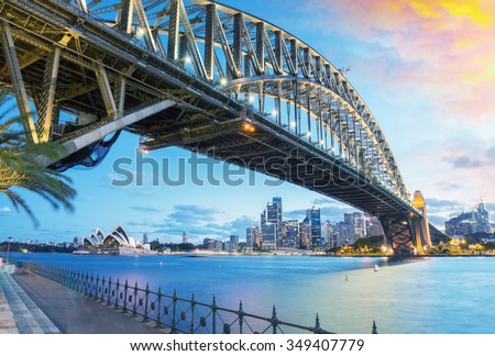 Sydney, Australia. Amazing skyline at dusk. - stock photo