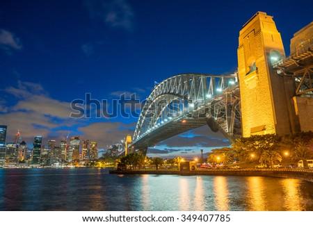 Sydney, Australia. Amazing skyline at dusk. - stock photo