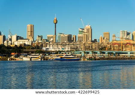 Sydney, Australia - 25 Apr 2016: Sydney CBD city view of Sydney Fish Market, Glebe and Central Business District with Sydney Tower. Office, commercial and residential skyscraper buildings