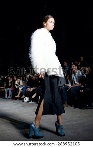 SYDNEY AUSTRALIA - APRIL 12: Models on runway showing clothes during Kym Ellery fashion show within Mercedes Benz Fashion Week in Carriageworks Sydney Australia. April 12, 2015 Sydney Australia.  - stock photo