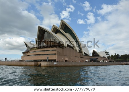 SYDNEY, AUSTRALIA - APRIL 5, 2014: Sydney Opera House view from the boat crossing the river from Taronga zoo to city center.