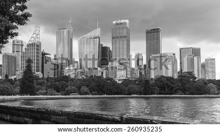 SYDNEY, AUSTRALIA April 02, 2014: Sydney's cbd seen from the botanical garden at daytime - stock photo