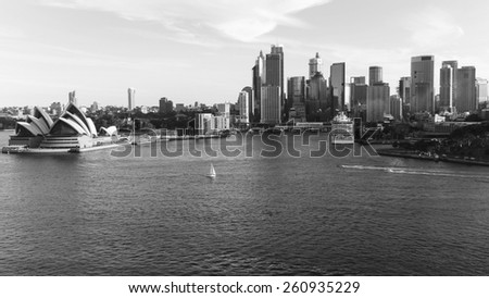 SYDNEY, AUSTRALIA April 02, 2014: Sydney's opera house and skyline seen from the harbour bridge at daytime - stock photo