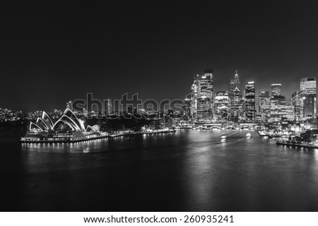 SYDNEY, AUSTRALIA April 02, 2014: Sydney's opera house and skyline seen from the harbour bridge at nighttime - stock photo