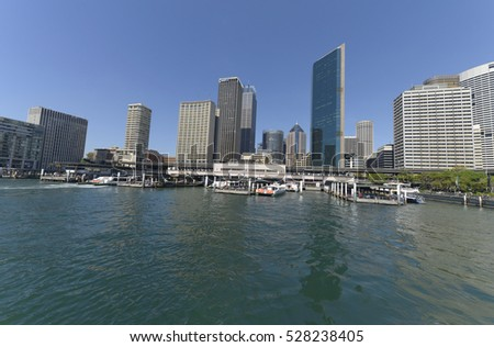 SYDNEY, AUSTRALIA - April 02, 2016:Sydney skyline, Horbour bridge and the Sydney Opera House from boat.