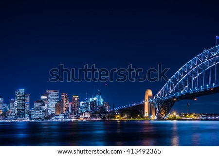 Sydney, Australia - April 12,2016: The Sydney Harbour Bridge is a iconic steel through arch bridge across Sydney Harbour.