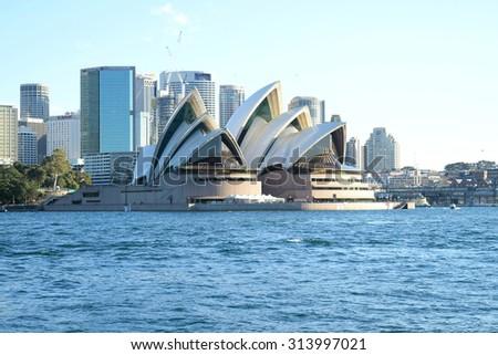 SYDNEY, AUSTRALIA - AUG 2015: View of Sydney Opera House, famous icon, on August 2015 in Sydney, Australia. - stock photo