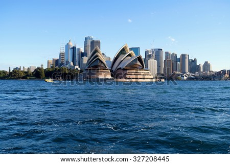 SYDNEY, AUSTRALIA - AUG 2015: View of Sydney Opera House, famous icon, on August 2015 in Sydney, Australia.