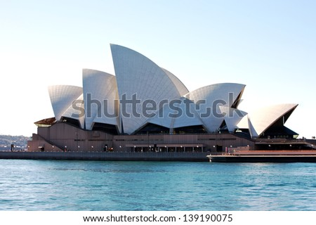 SYDNEY, AUSTRALIA - AUGUST 01 : Sydney Opera House in Sydney. 01 August 2009 in Sydney, Australia. A famous tourist attraction and popular landmark - stock photo