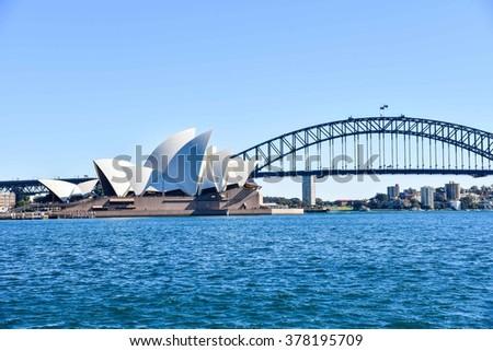 Sydney, Australia - AUGUST 13, 2015: The Sydney Opera House and the Harbour Bridge - stock photo
