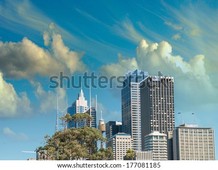 Sydney, Australia. Beautiful view of Harbour skyscrapers. - stock photo