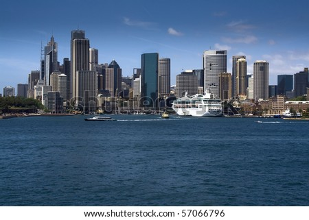 Sydney Australia CBD downtown district view from harbour cityscape skyscrapers - stock photo