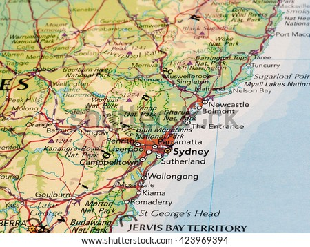 sydney australia circa may 2016 detail of a map of the city with